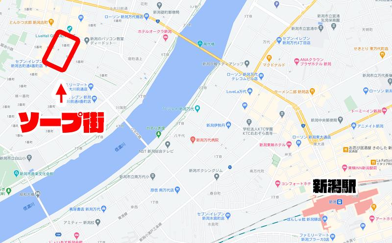 新潟のソープ街の地図