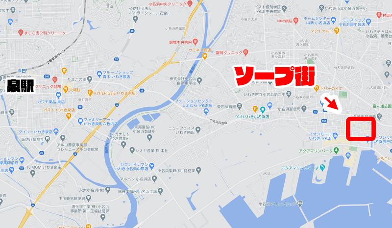 福島のソープ街の地図